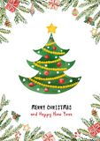 Watercolor vector greeting card with Christmas tree, spruce branches and gifts. stock illustration