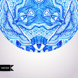 Watercolor vector gzhel. Doily round lace pattern, circle backgr Stock Image