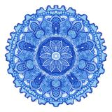 Watercolor vector gzhel. Doily round lace pattern, circle backgr Royalty Free Stock Photo