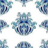 Watercolor vector gzhel. Pattern, with details Stock Photo