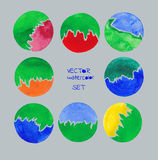 Watercolor vector hand drawn green circles set. Stock Image