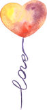 Watercolor vector hand drawn heart balloon with word Love. Saint Valentine's Day card. Good idea for design, cards, sites, sales, brochures, banners. Pink royalty free illustration