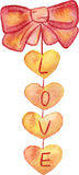 Watercolor vector  hand drawn heart garland with word Love Stock Image