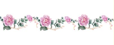 Watercolor vector hand painting horizontal banner of peony flowers and green leaves. Royalty Free Illustration
