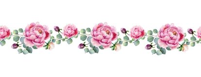 Watercolor vector hand painting horizontal banner of peony flowers and green leaves. Royalty Free Stock Images