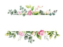 Watercolor vector hand painting horizontal banner of pink flowers and green leaves. Spring or summer flowers for invitation, wedding or greeting cards stock illustration
