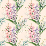 Watercolor vector hyacinth pattern. Watercolor vector spring floral pattern with lilies of the valley and hyacinths Royalty Free Stock Photo