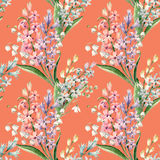 Watercolor vector hyacinth pattern. Watercolor vector spring floral pattern with lilies of the valley and hyacinths Royalty Free Stock Image