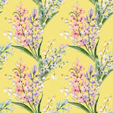 Watercolor vector hyacinth pattern. Watercolor vector spring floral pattern with lilies of the valley and hyacinths Royalty Free Stock Photos