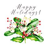 Watercolor vector illustration. Christmas bouquet with mistletoe, holly jolly and guelder rose berries. Greeting card. Hand drawn. Christmas, Xmas, New year Royalty Free Stock Photography