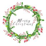 Watercolor vector illustration. Christmas wreath with fir branches, dog rose and gelder rose berries. Greeting card. Watercolor vector illustration. Christmas Stock Image