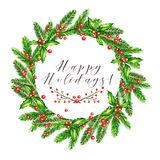 Watercolor vector illustration. Christmas wreath with fir branches, holly jolly and guelder rose berries. Greeting card. Hand drawn. Christmas, Xmas, New year Royalty Free Stock Photos