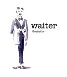 Watercolor vector illustration of waiter Stock Photo