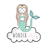 Mermaid. Watercolor vector illustration. Watercolor vector illustration. White bg Stock Photography
