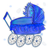Watercolor vector imitation blue baby carriage Stock Images