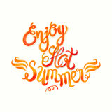 Watercolor vector lettering enjoy hot summer-Fire flame style pa Royalty Free Stock Images