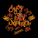 Watercolor vector lettering enjoy hot summer-Fire flame style pa Royalty Free Stock Photo