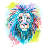 Watercolor vector lion. Beautiful vector image with nice watercolor lion stock illustration