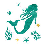 Watercolor vector mermaid silhouette. Watercolor mermaid silhouette. Vector marine illustration Stock Photography
