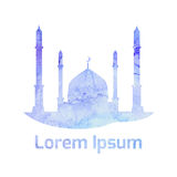 Watercolor vector Muslim mosque Royalty Free Stock Image