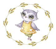Watercolor vector owl in vintage style. Cute funny cartoon character. Watercolor print royalty free illustration