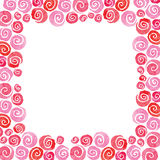 Watercolor vector pink rose square flower frame Stock Image