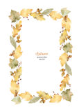 Watercolor vector rectangular frame of leaves and branches isolated on white background. Autumn illustration for greeting cards, wedding invitations, quote and vector illustration