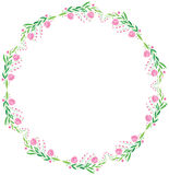 Watercolor vector round frame - big pink flower Stock Photos