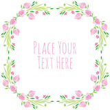 Watercolor vector round frame - pink flower with Royalty Free Stock Image