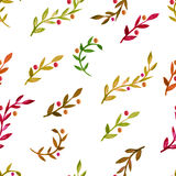 Watercolor vector seamless pattern with colorful autumn leaves.  Royalty Free Stock Image