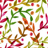Watercolor vector seamless pattern with colorful autumn leaves Royalty Free Stock Photography