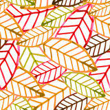 Watercolor vector seamless pattern with colorful autumn leaves. Royalty Free Stock Photography