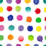 Watercolor vector seamless pattern. Colorful watercolor splashes isolated on white background. Seamless pattern can be used for wallpaper, pattern fills, web Royalty Free Stock Image