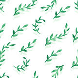 Watercolor vector seamless pattern with green leaves.  Royalty Free Stock Image