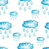 Watercolor vector seamless pattern with rainy clouds Stock Images