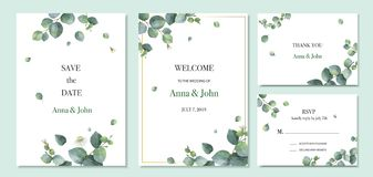 Watercolor vector set wedding invitation card template design with green eucalyptus leaves. Illustration for cards, save the date, greeting design, floral royalty free illustration