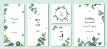 Free Watercolor Vector Set Wedding Invitation Card Template Design With Green Eucalyptus Leaves. Stock Photo - 139721250
