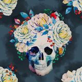 Watercolor vector skull pattern Royalty Free Stock Image