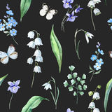 Watercolor vector spring floral pattern Royalty Free Stock Images