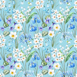 Watercolor vector spring floral pattern Royalty Free Stock Photos