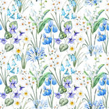 Watercolor vector spring floral pattern Stock Photo