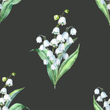 Watercolor vector spring floral pattern Royalty Free Stock Photo