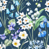 Watercolor vector spring floral pattern Stock Images