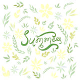 Watercolor vector summer card with green leaves and flowers. Used for scrap booking, greeting card, wrapping paper Royalty Free Illustration