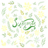 Watercolor vector summer card with green leaves and flowers. Used for scrap booking, greeting card, wrapping paper, wallpaper Stock Photo
