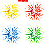 Watercolor Vector Sunburst Flower. Green, Blue, Yellow and Red Watercolor Vector Sunburst Flower Royalty Free Stock Photography