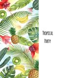 Watercolor vector vertical banner tropical leaves,fruits and cacti isolated on white background. Illustration for design wedding invitations, greeting cards stock illustration