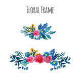 Watercolor vector wreath. Floral frame design Royalty Free Stock Images