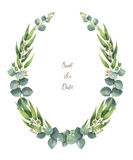 Watercolor vector wreath with green eucalyptus leaves and branches. Healing Herbs for cards, wedding invitation, posters, save the date or greeting design Stock Images