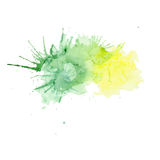 Watercolor vector yellow with green spray Stock Photo